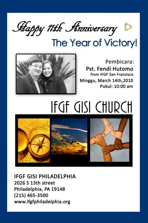 IFGF Philadelphia's 11th Anniversary Flyer